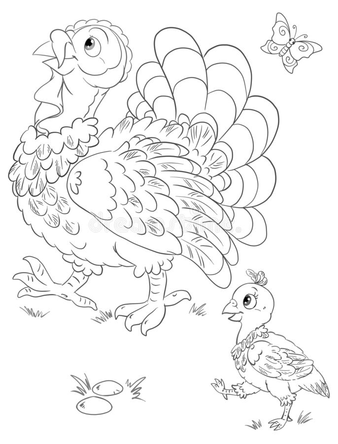 Coloring with turkey and turkey-poult royalty free stock image