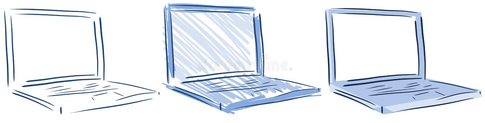 Download Isolated Computers Laptop In Blue Tones Stock Illustration - Image: 42958093