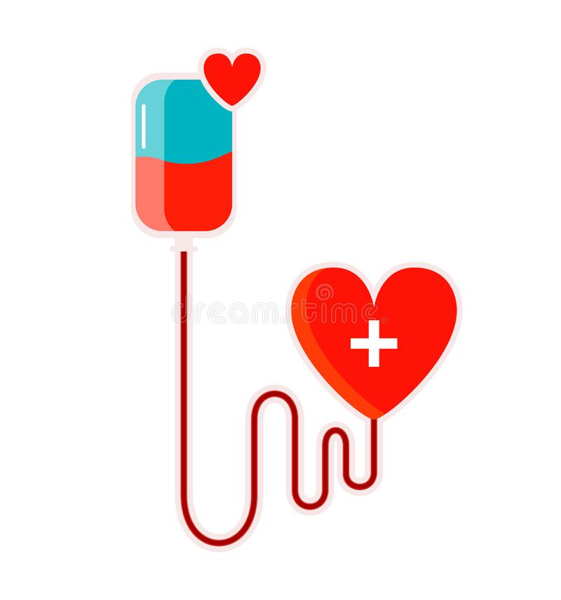 Isolated concept banner with drooper and heart. Blood donation save life. Vector vector illustration