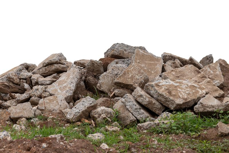 Isolated concrete debris on the ground royalty free stock photo