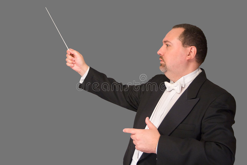 Isolated Conductor: Profile. Profile shot of a conductor with his baton in concert dress, isolated against gray background stock images