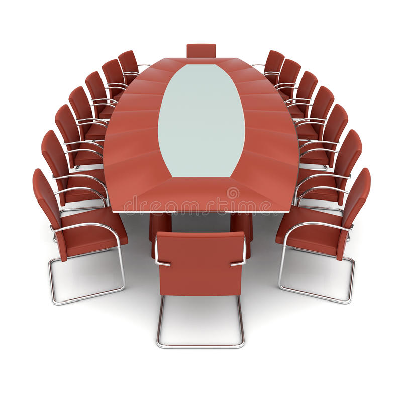 Isolated conference table stock illustration