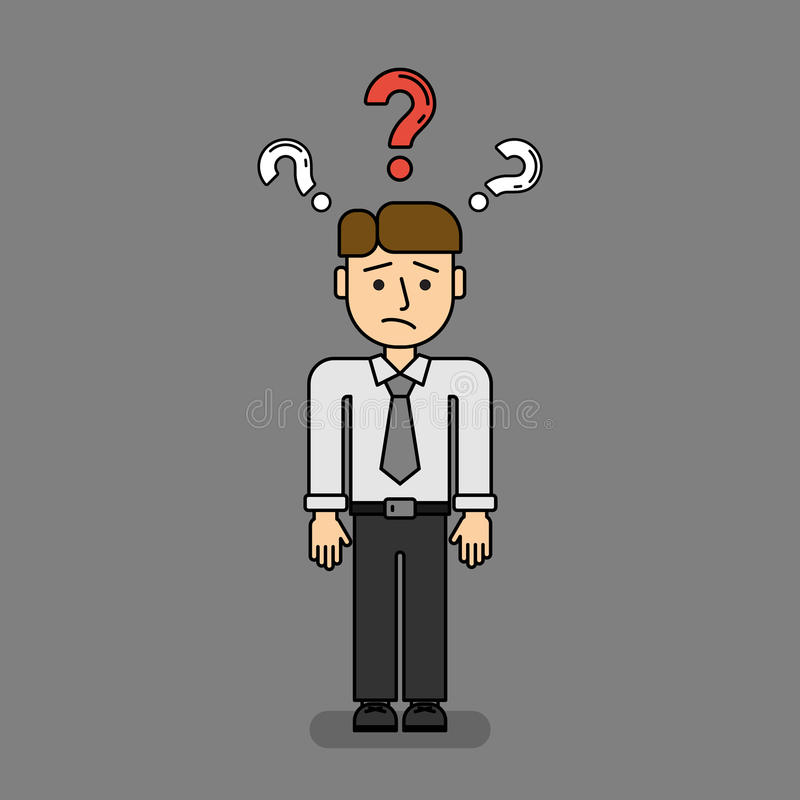Isolated confused businessman. royalty free illustration
