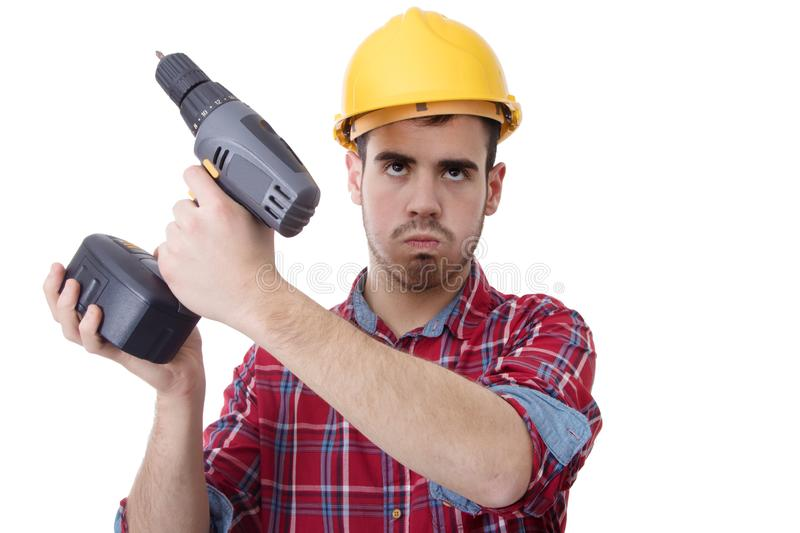 Isolated construction worker stock photo