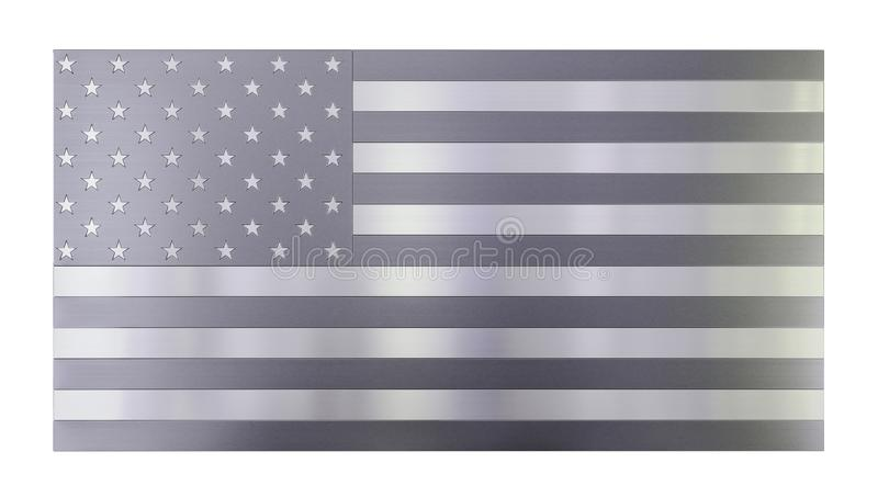 Isolated cool modern background, isolated USA flag made out of different types of brushed metal planks, stainless steel royalty free illustration