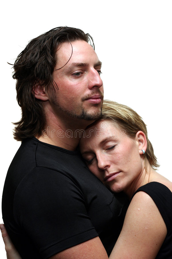 Isolated couple cudling stock photography