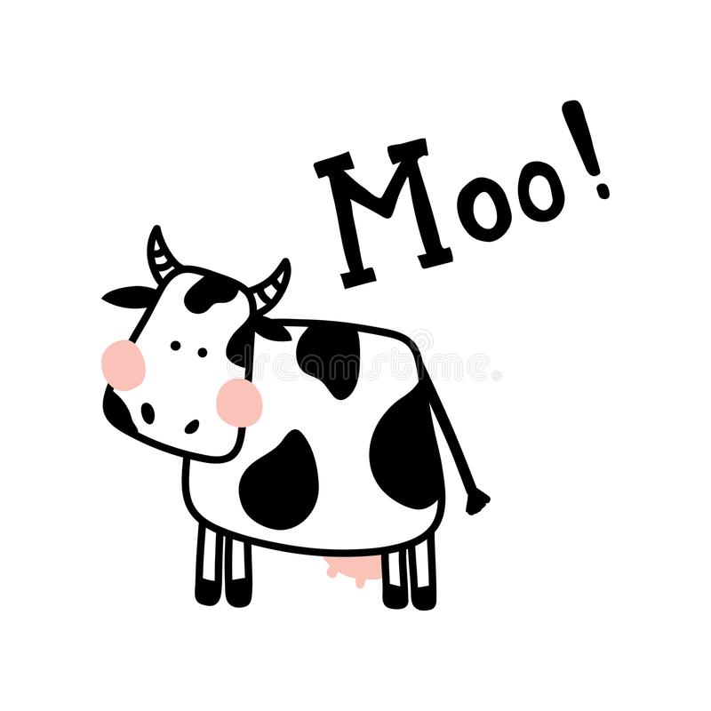 Isolated cow. Vector illustration of a cute cow on isolated background and hand lettering Moo text vector illustration
