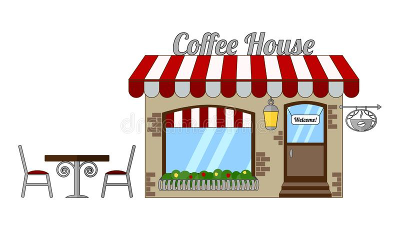 Isolated cozy coffee house with a red-white roof and a floral balcony. Summer dining area - table and chairs outside. A cozy coffee house with a red-white roof stock illustration