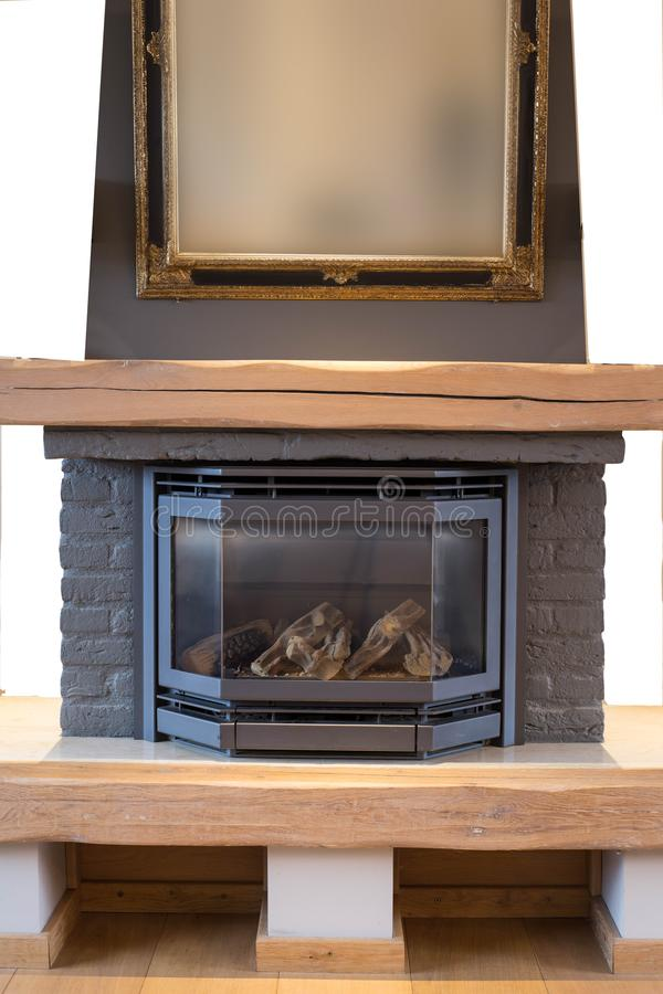 Isolated cozy fireplace mantel. Abstract home object royalty free stock images