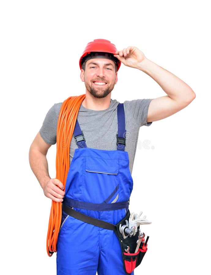 isolated craftsman construction worker assembler workmen - friendly worker in working clothes on white background stock photo