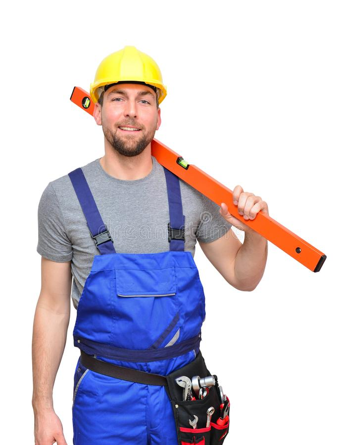 isolated craftsman construction worker assembler workmen - friendly worker in working clothes on white background stock images