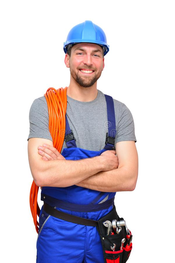 isolated craftsman construction worker assembler workmen - friendly worker in working clothes on white background stock photography