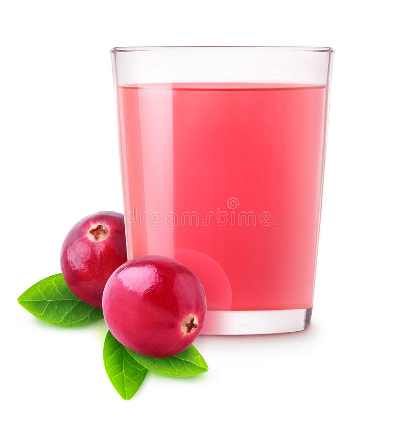Isolated cranberry water. Glass of vitamin cranberry drink isolated on white background with clipping path royalty free stock photography