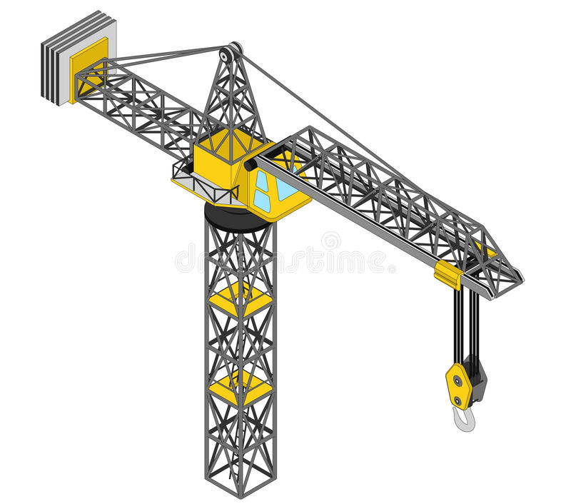 Isolated crane structure isometric view drawing. Illustration stock illustration