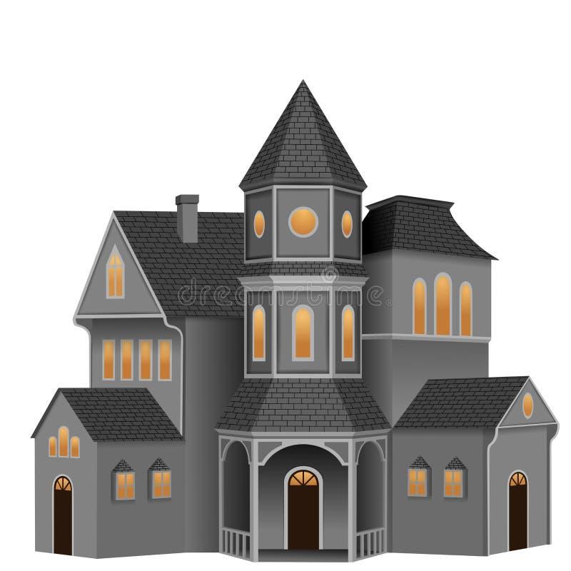 Isolated creepy halloween house illustration. Isolated halloween house illustration. Vector additional format avaiable stock illustration