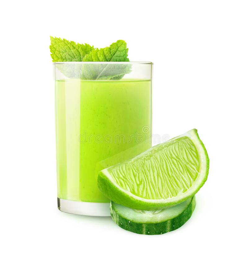 Isolated cucumber lime cocktail. Isolated drink. Cucumber lime cocktail and pieces of ts isolated on white background with clipping path stock photography