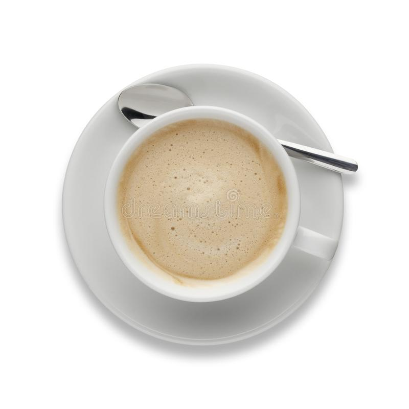 Isolated cup of Cappuccino, shot from above on white. stock photos