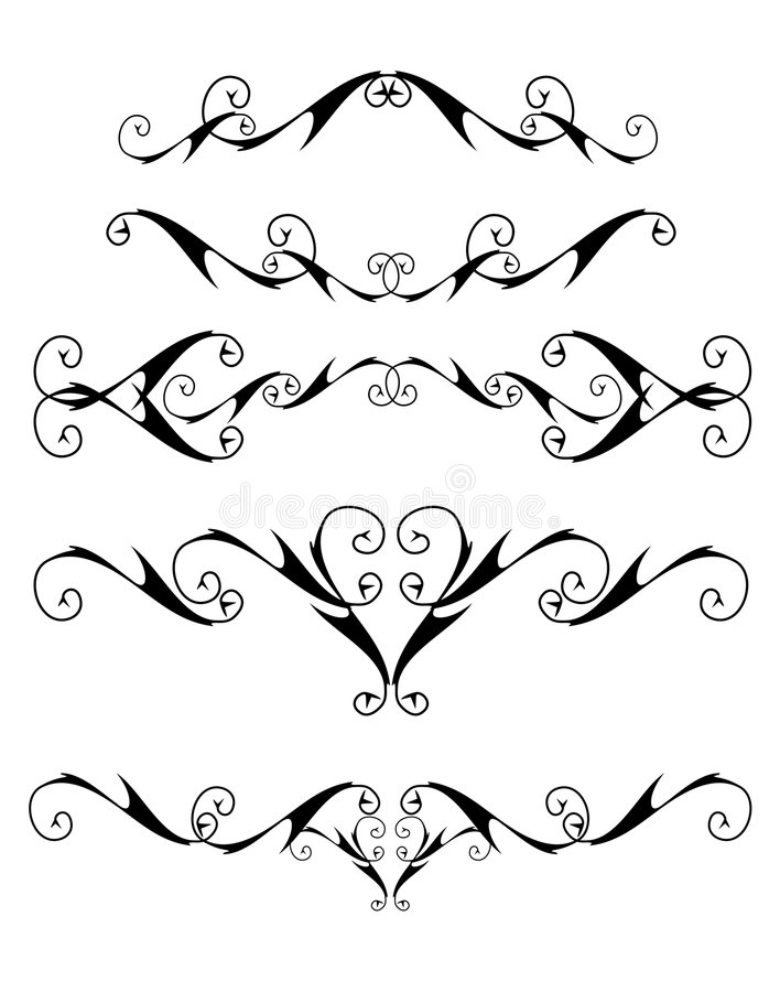 Isolated curly design elements stock illustration