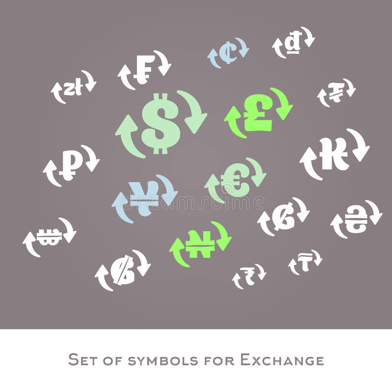 Isolated Currency Exchange Signs Vector Set International Money