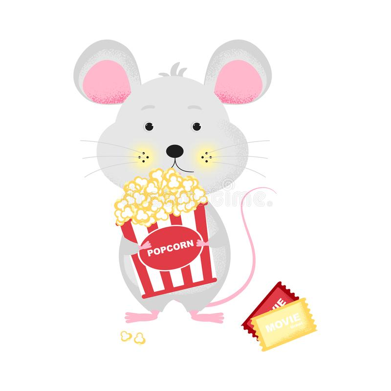 Isolated cute cartoon Mouse with popcorn bucket. Goint to cinema. Ticket icon. Mouse with bucket.   New Year card, t-shirt composition, handmade, animal symbol vector illustration