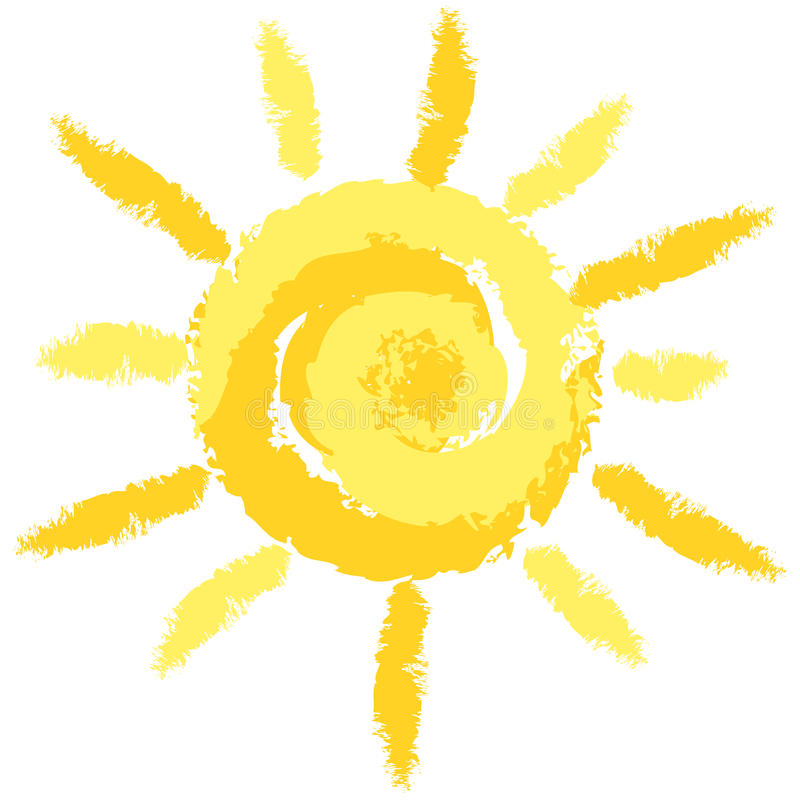 Free Isolated Cute Crayon Sun, Vector Image Stock Images - 50247524