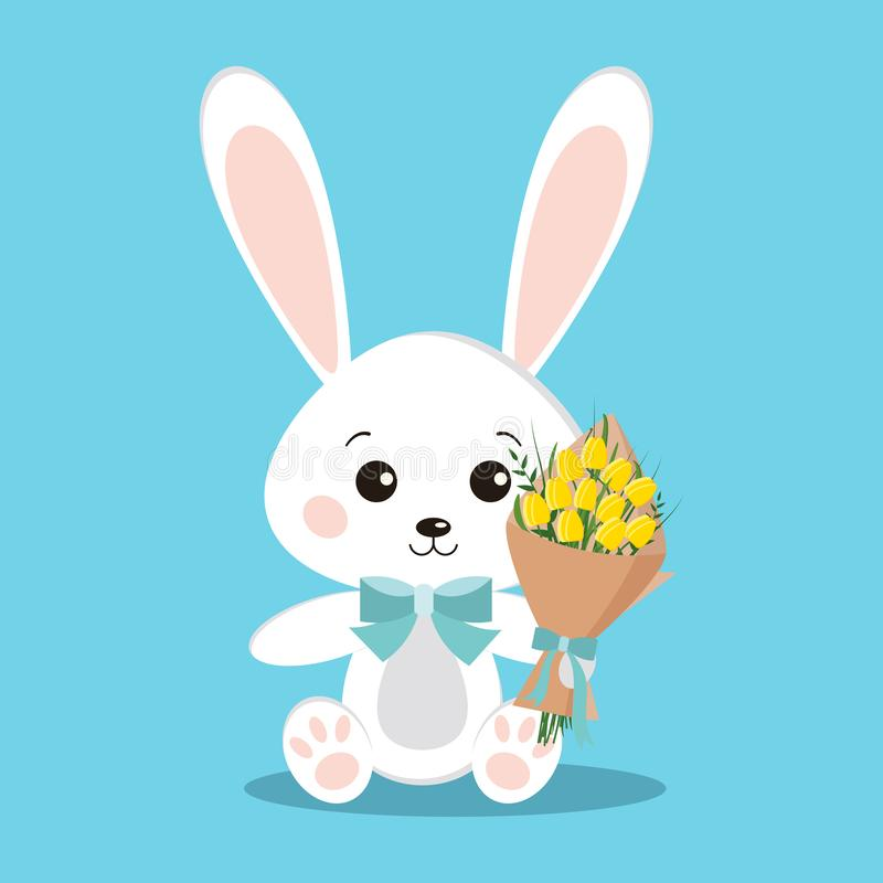 Isolated cute romantic elegant white bunny rabbit in sitting pose with blue bow tie and bouquet. Of yellow tulips in paw on blue background in flat cartoon royalty free illustration