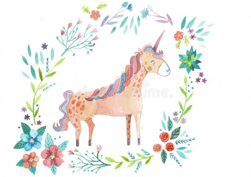 Isolated cute watercolor unicorn clipart. Nursery unicorns illustration. Princess unicorns poster. Trendy pink cartoon stock illustration