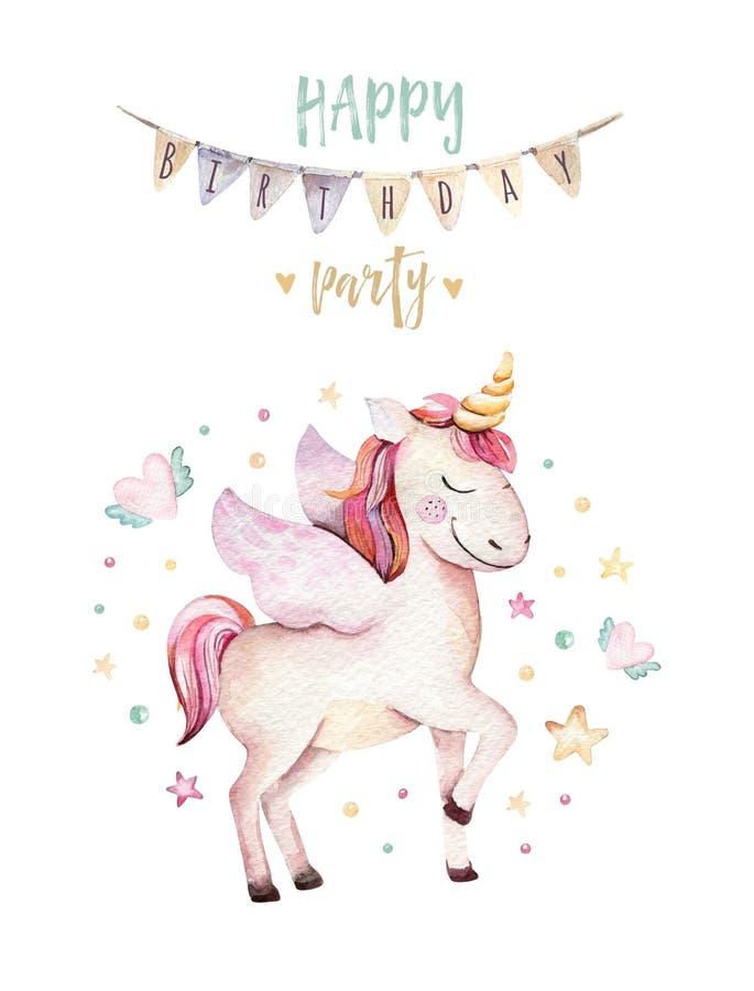 Isolated cute watercolor unicorn clipart. Nursery unicorns illustration. Princess rainbow unicorns poster. Trendy pink vector illustration