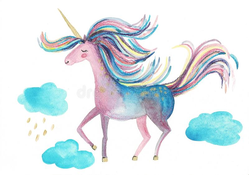 Isolated cute watercolor unicorn clipart. Nursery unicorns illustration. Princess unicorns poster. Trendy pink cartoon royalty free illustration
