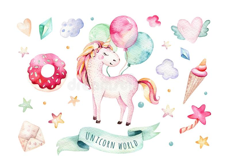 Isolated cute watercolor unicorn clipart. Nursery unicorns illustration. Princess rainbow unicorns poster. Trendy pink royalty free illustration
