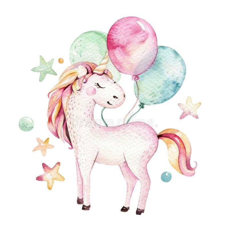 Isolated cute watercolor unicorn clipart. Nursery unicorns illustration. Princess rainbow unicorns poster. Trendy pink royalty free illustration
