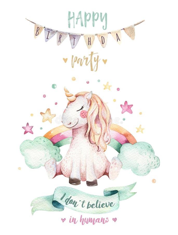 Isolated cute watercolor unicorn clipart. Nursery unicorns illustration. Princess rainbow unicorns poster. Trendy pink. Isolated cute watercolor unicorn clipart royalty free illustration