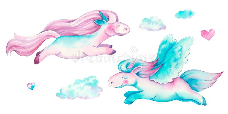 Isolated cute watercolor unicorn clipart. Nursery unicorns illustration. Princess unicorns poster. Trendy pink cartoon horse vector illustration