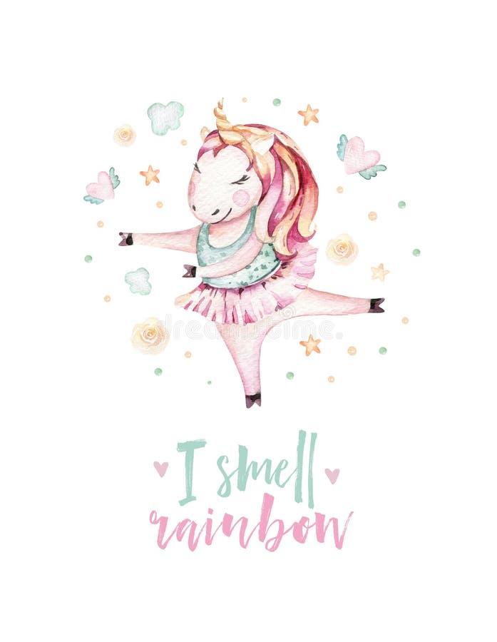 Isolated cute watercolor unicorn clipart. Nursery unicorns illustration. Princess unicorns poster. Trendy miracle pink. Isolated cute watercolor unicorn clipart royalty free illustration