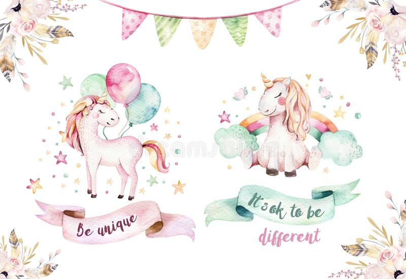 Isolated cute watercolor unicorn clipart. Nursery unicorns illustration. Princess rainbow unicorns poster. Trendy pink. Isolated cute watercolor unicorn clipart stock illustration