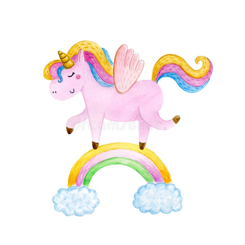 Isolated cute watercolor unicorn clipart. Nursery unicorns illustration. Princess unicorns poster. Trendy pink cartoon horse. Isolated cute watercolor unicorn vector illustration