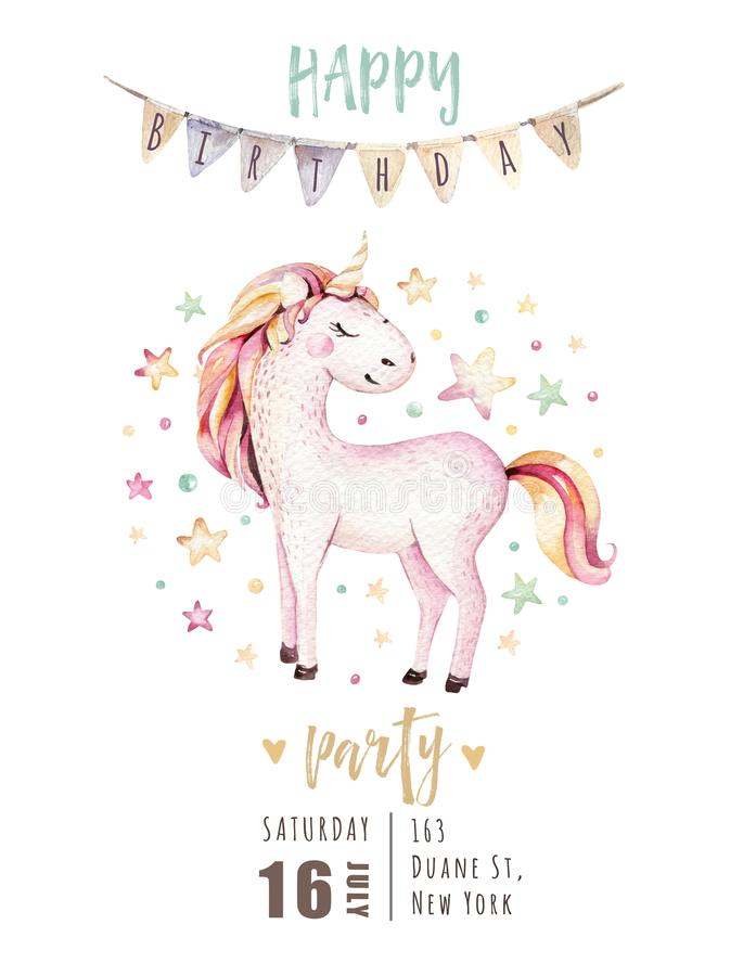 Isolated cute watercolor unicorn invitation card. Nursery unicorns illustration. Princess rainbow unicorns poster stock illustration