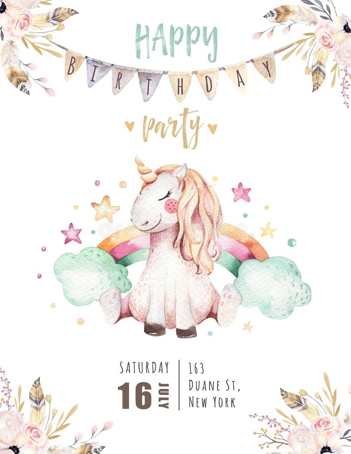 Isolated cute watercolor unicorn invitation card. Nursery unicorns illustration. Princess rainbow unicorns poster vector illustration