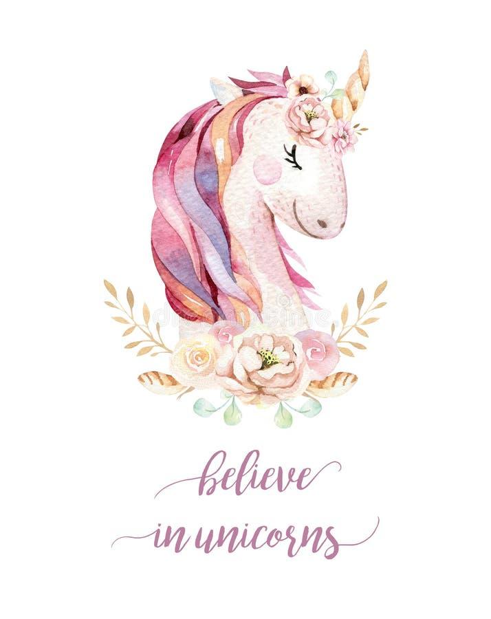Isolated cute watercolor unicorn stock illustration