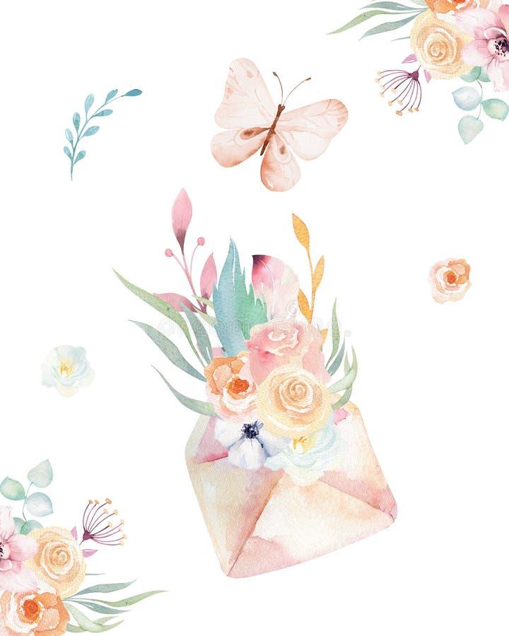 Isolated cute watercolor unicorn keys clipart with flowers. Nursery unicorns key illustration. Princess rainbow poster. Pink magic poster stock illustration