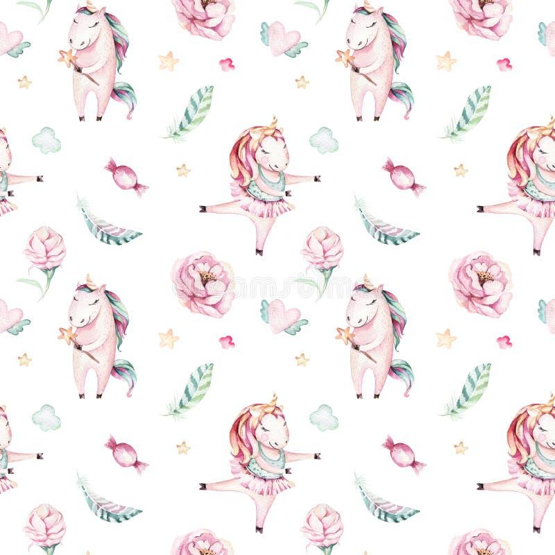 Isolated cute watercolor unicorn pattern. Nursery magic unicorns aquarelle. Princess miracle unicorns collection. Trendy. Isolated cute watercolor unicorn royalty free illustration