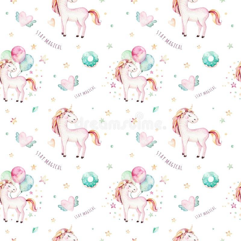 Isolated cute watercolor unicorn pattern. Nursery rainbow unicorns aquarelle. Princess unicornscollection. Trendy pink royalty free illustration