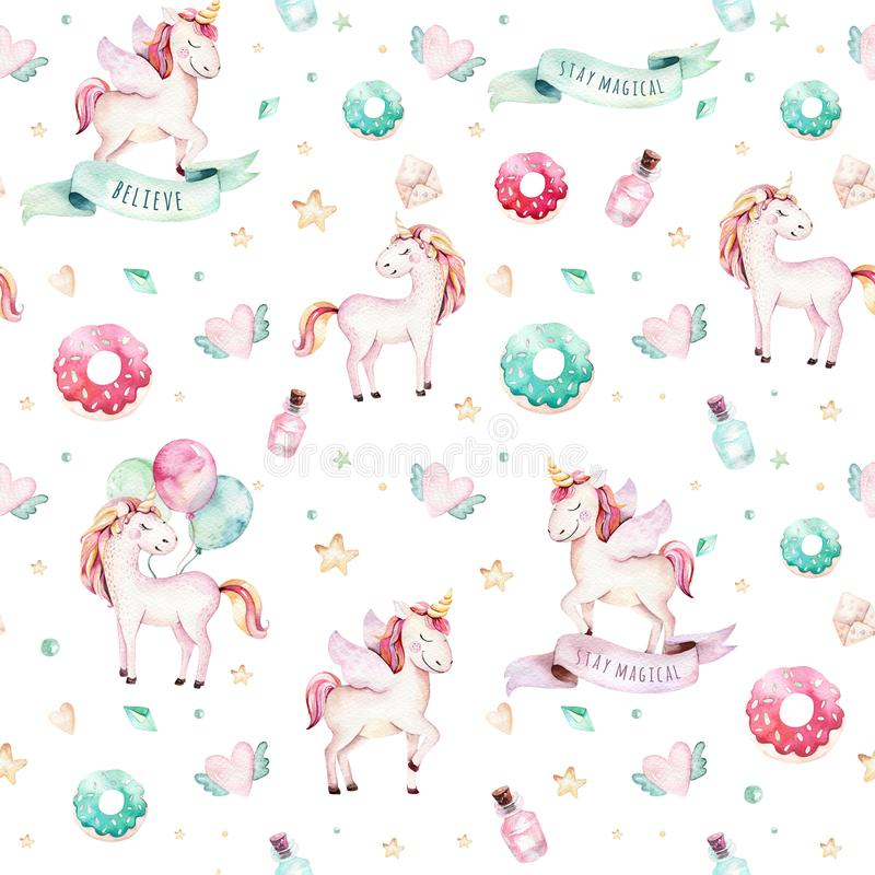 Isolated cute watercolor unicorn pattern. Nursery rainbow unicorns aquarelle. Princess unicornscollection. Trendy pink. Isolated cute watercolor unicorn pattern vector illustration