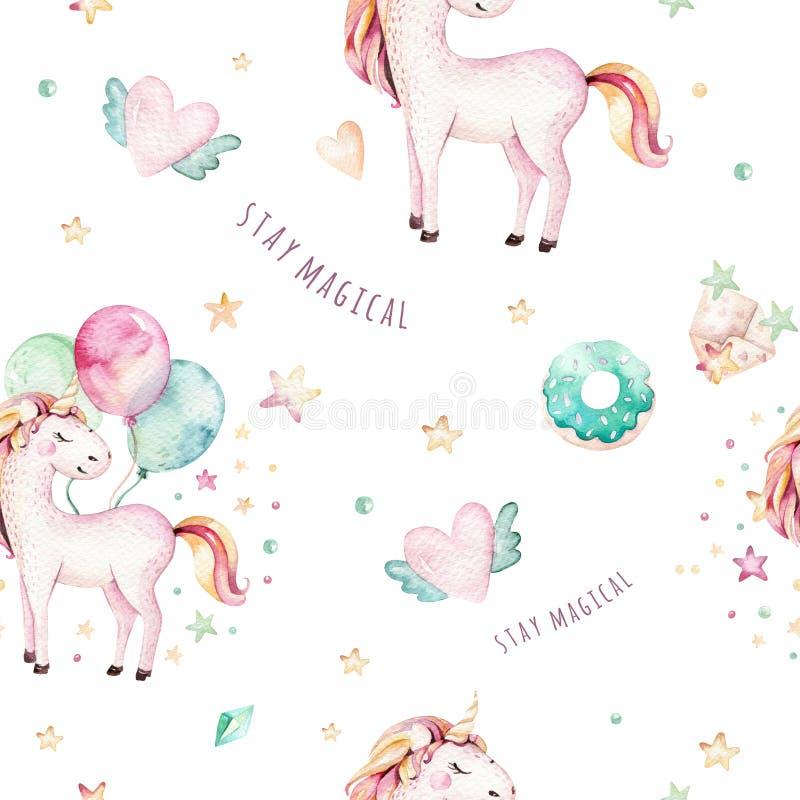 Isolated cute watercolor unicorn pattern. Nursery rainbow unicorns aquarelle. Princess unicornscollection. Trendy pink. Isolated cute watercolor unicorn pattern royalty free illustration