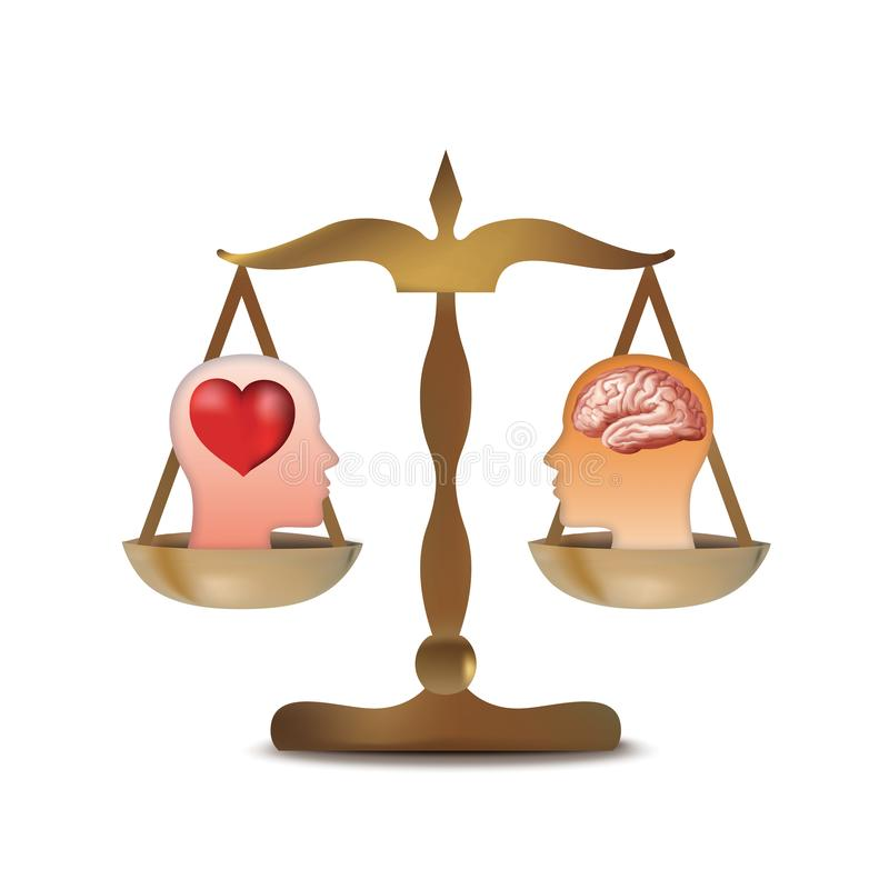 Isolated 3d heart and brain concept with human head silhouette on balance stock illustration