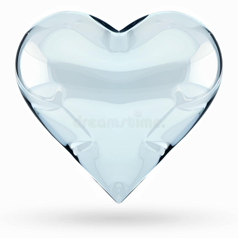 Isolated 3D Glass Heart Stock Photos