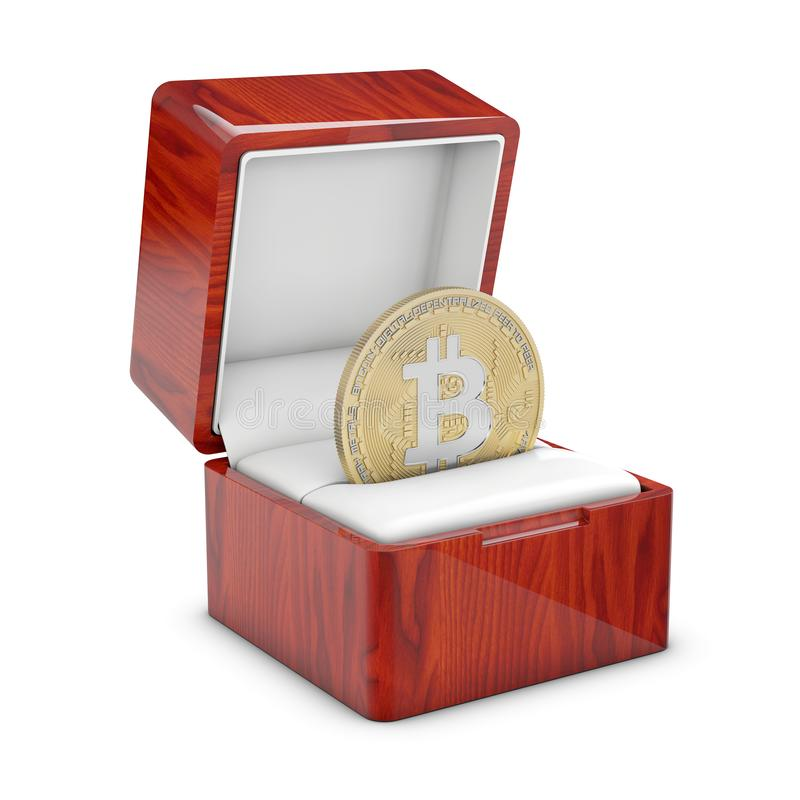 Isolated 3d illustration of a present box with a bitcoin stock illustration
