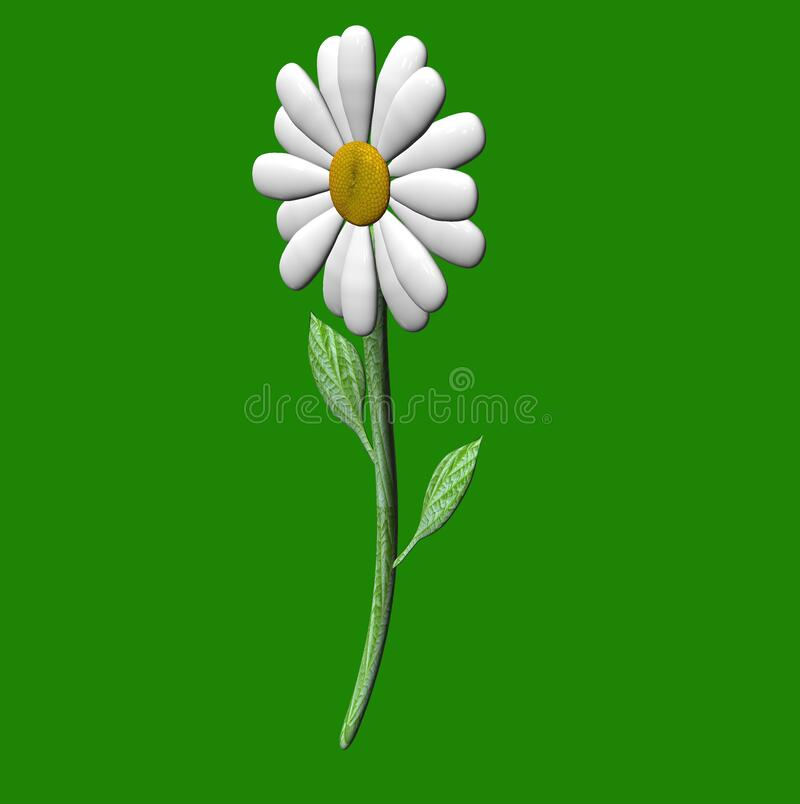 Isolated 3D Porcelain rendered Daisy on White Background. Isolated 3D Porcelain rendered Daisy on Green Background. 3D concept royalty free illustration