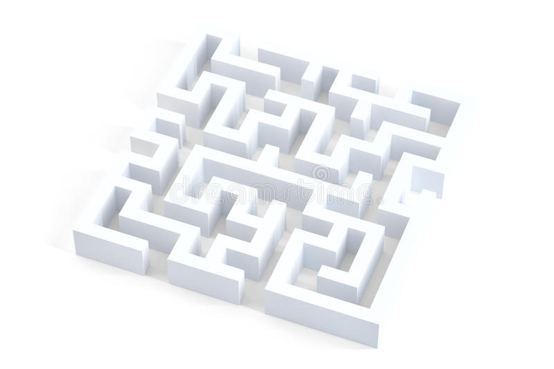 Isolated 3d white maze. Contains clipping path vector illustration