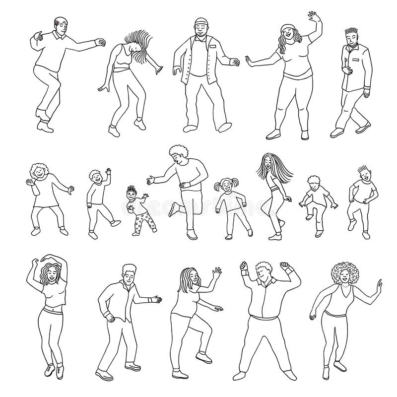 Isolated dancing people, children and adults. Collection of hand drawn dancing people, children and adults, black and white ink illustration vector illustration